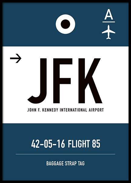 JFK New York Poster in the group Prints / Maps & cities at Desenio AB (10006)