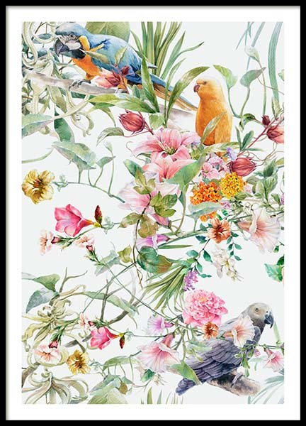 Bird Pattern No1 Poster in the group Prints / Floral at Desenio AB (10076)