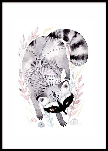 Little Raccoon Poster in the group Prints / Kids posters at Desenio AB (10115)
