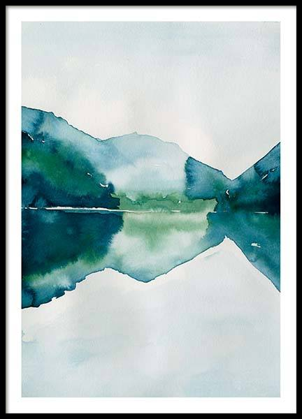 Watercolor Mountain Reflection Poster in the group Prints / Art prints at Desenio AB (10123)