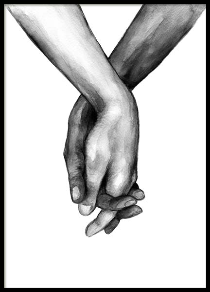Watercolor Hands No1 Poster in the group Prints / Black & white at Desenio AB (10201)