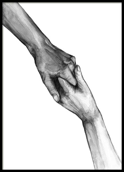 Watercolor Hands No2 Poster in the group Prints / Black & white at Desenio AB (10202)