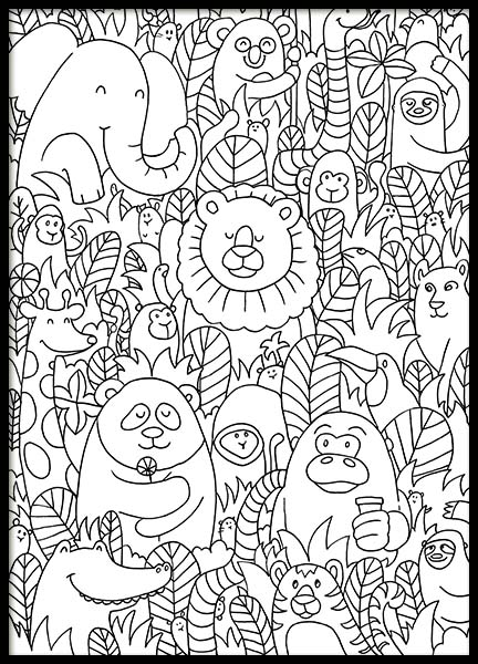 Jungle Friends Poster in the group Prints / Kids posters at Desenio AB (10205)