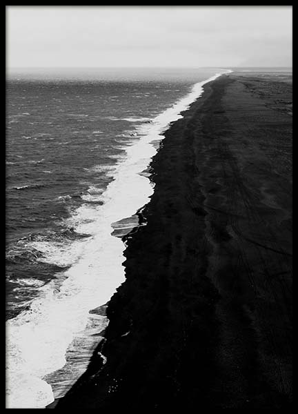 Black Beach Aerial Poster in the group Prints / Nature at Desenio AB (10237)