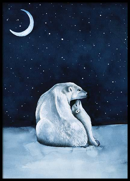 Polar Bear Night Sky Poster in the group Prints / Kids posters at Desenio AB (10275)