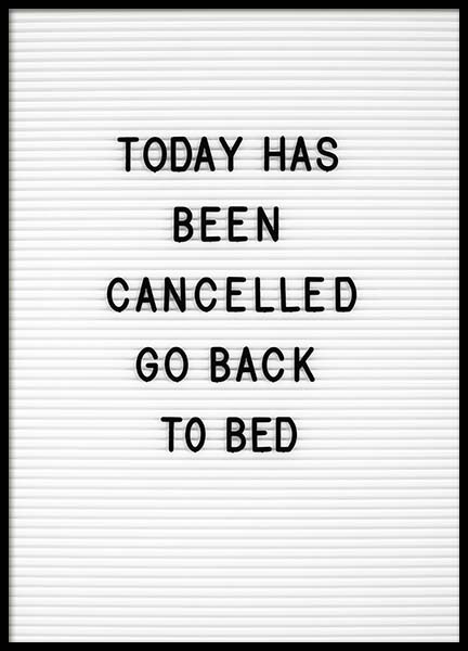 Go Back To Bed Poster in the group Prints / Text posters at Desenio AB (10359)