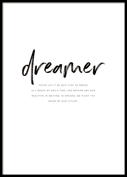 Dreamer Quote Poster in the group Prints / Typography & quotes at Desenio AB (10364)