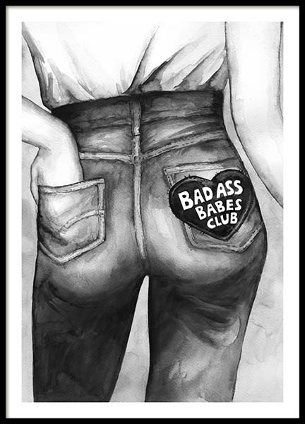 Bad Ass Babes Club Poster in the group Prints / Black & white at Desenio AB (10545)