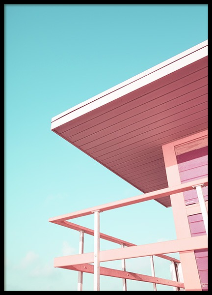 "Pink Beach Tower Poster in the group Prints / Sizes / 50x70cm | 19 	¾ x 27 ½"" at Desenio AB (10759)"