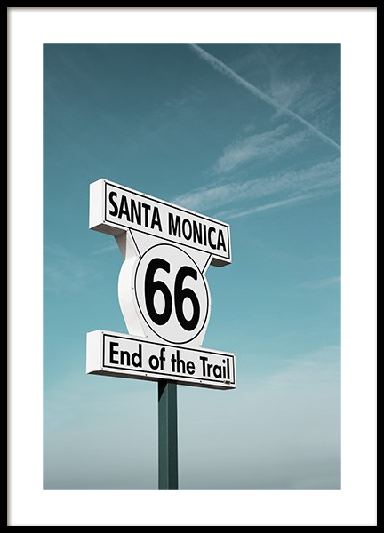 "Route 66 Sign Poster in the group Prints / Sizes / 50x70cm | 19 	¾ x 27 ½"" at Desenio AB (10778)"