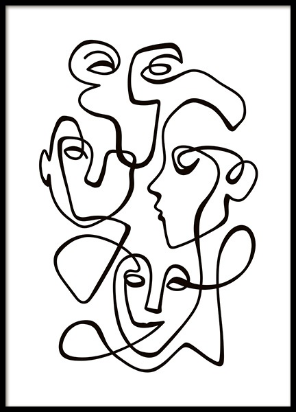 Abstract Line People No2 Poster in the group Prints / Black & white at Desenio AB (10841)