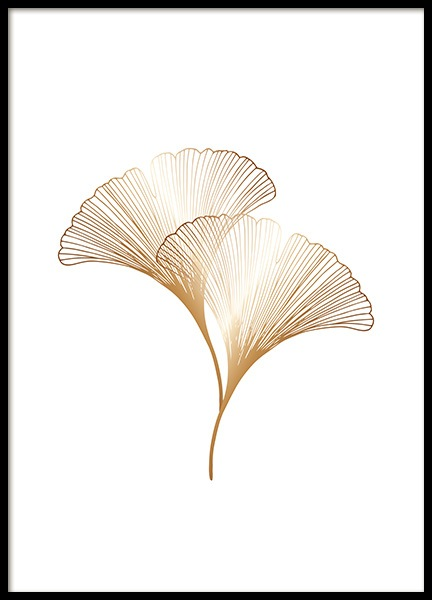 Ginkgo Leaves Gold Poster in the group Prints / Botanical at Desenio AB (11280)