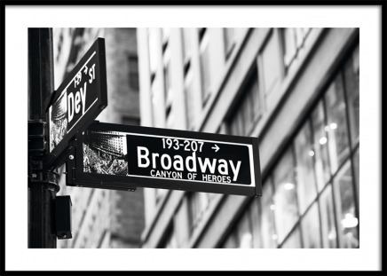 Broadway Sign Poster in the group Prints / Black & white at Desenio AB (11311)