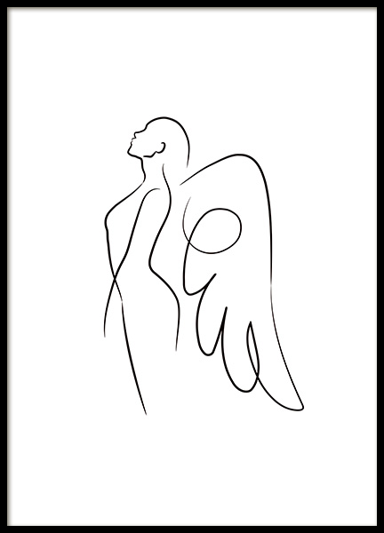 Line Art Angel Poster in the group Prints / Art prints at Desenio AB (11425)