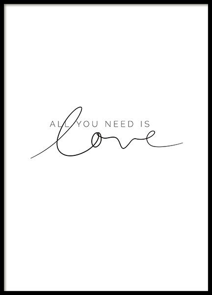 You Need Love Poster in the group Prints / Text posters at Desenio AB (11466)