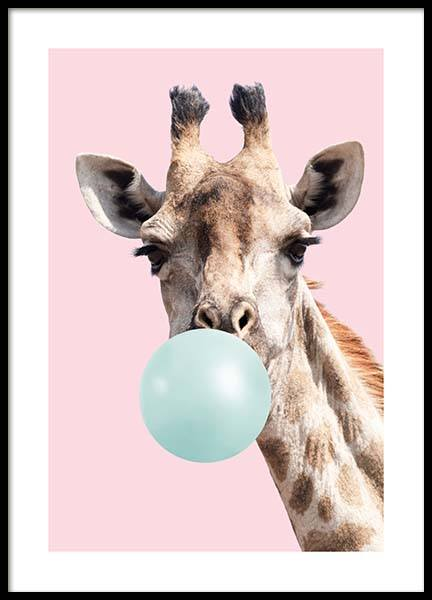 Bubblegum Giraffe Poster in the group Prints / Kids posters at Desenio AB (11769)
