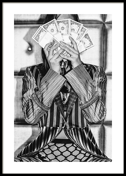 Flash Your Cash Poster in the group Prints / Black & white at Desenio AB (12025)