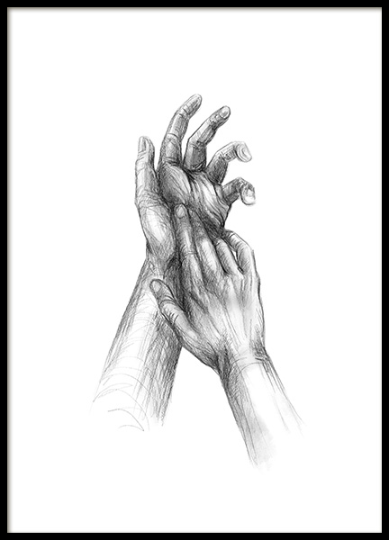 Your Hands Sketch Poster in the group Prints / Illustrations at Desenio AB (12133)
