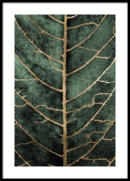 Golden Green Leaf Poster in the group Prints / Art prints at Desenio AB (12266)