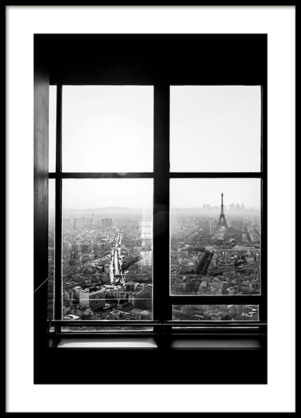 View of Eiffel Tower Poster in the group Prints / Black & white at Desenio AB (12295)
