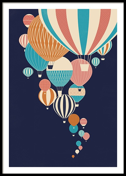 Balloons in the Sky Poster in the group Prints / Kids posters / Kids' posters at Desenio AB (13925)