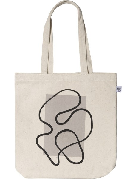 – Beige tote bag with a swirl in black with a dark beige rectangle behind it printed on the front