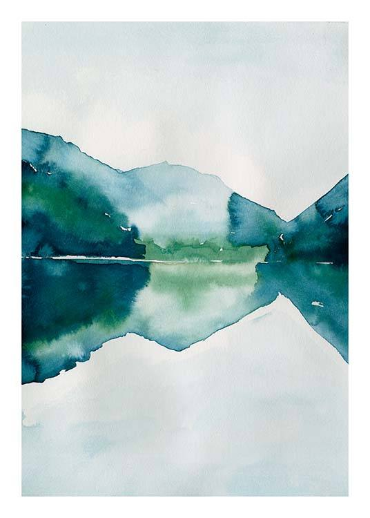 Watercolor Mountain Reflection Poster / Art prints at Desenio AB (10123)