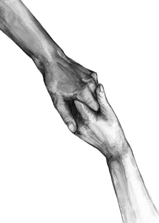Watercolor Hands No2 Poster / Black & white at Desenio AB (10202)