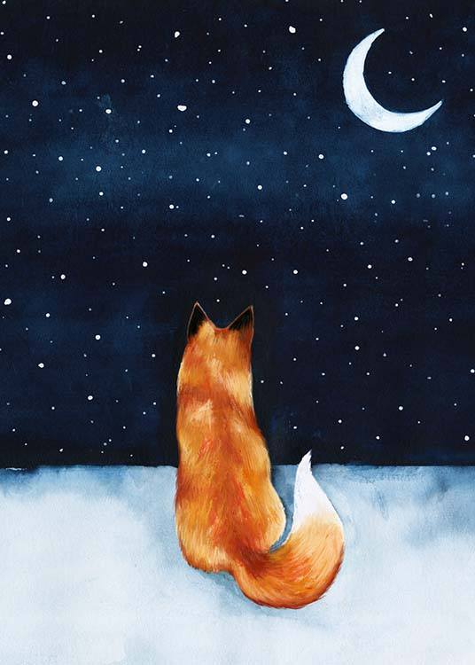 Night Fox Poster / Kids posters at Desenio AB (10274)
