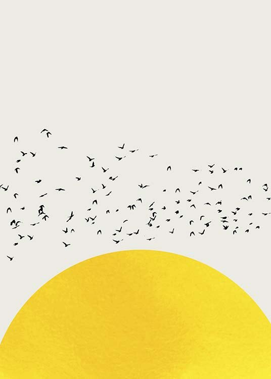 – Graphical illustration with a yellow semi-circle and a flock of birds against a beige background