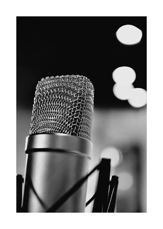 The Microphone Poster / Black & white at Desenio AB (10719)