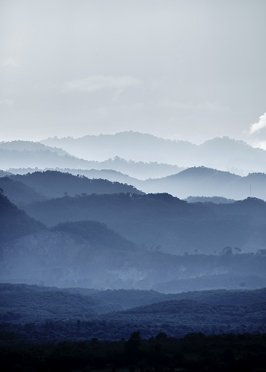 Misty Mountains Blue Poster / Nature at Desenio AB (11051)