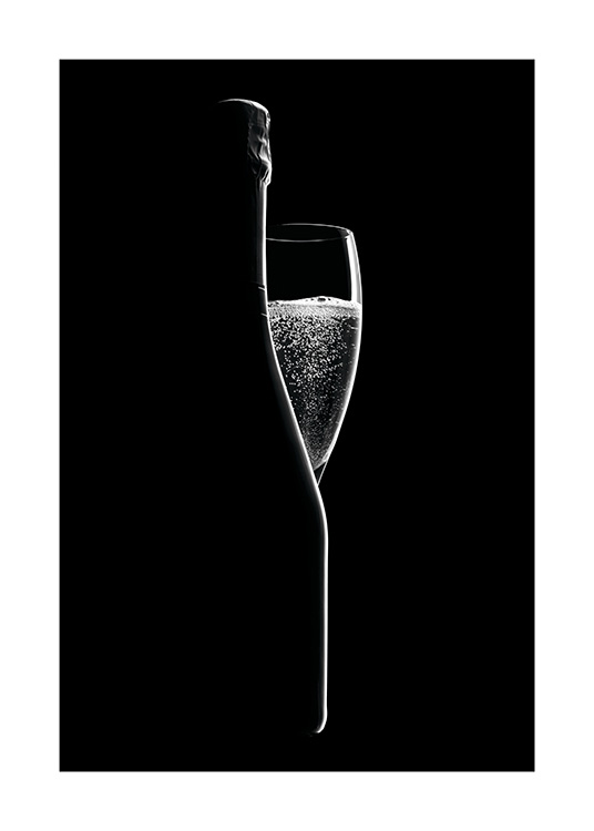 Sparkling Wine Poster / Black & white at Desenio AB (11276)