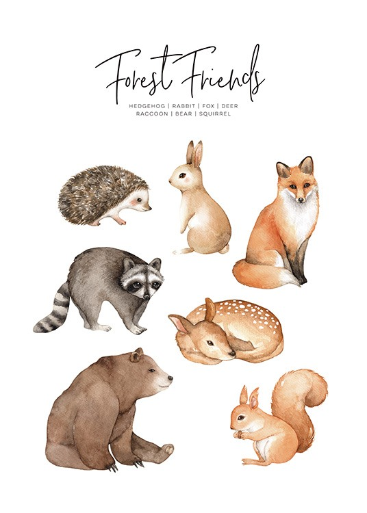 Forest Animals Poster / Kids posters at Desenio AB (11378)