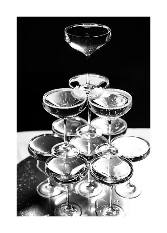 Champagne Tower Poster / Black & white at Desenio AB (11914)
