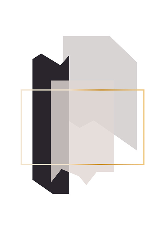 – Graphic illustration with shapes in grey looking like fragments, with a gold border in the middle