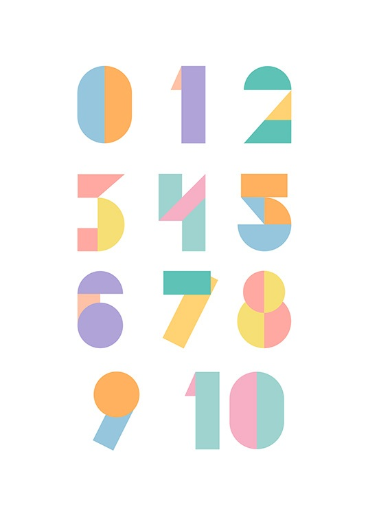 Geometric Numbers Poster / Kids posters at Desenio AB (12116)
