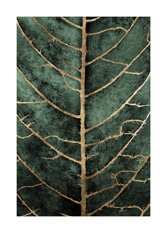 Golden Green Leaf Poster / Art prints at Desenio AB (12266)