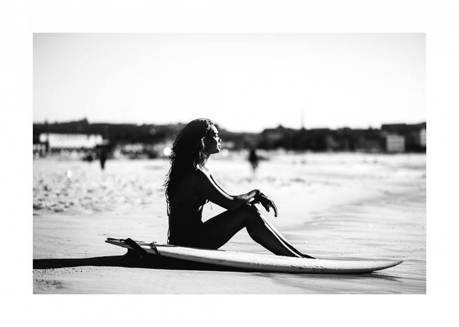 Surf and Relax Poster / Black & white at Desenio AB (12650)