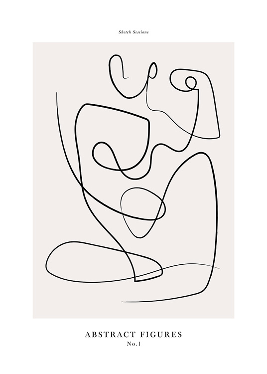 – Line art with abstract body, drawn in black on a beige background