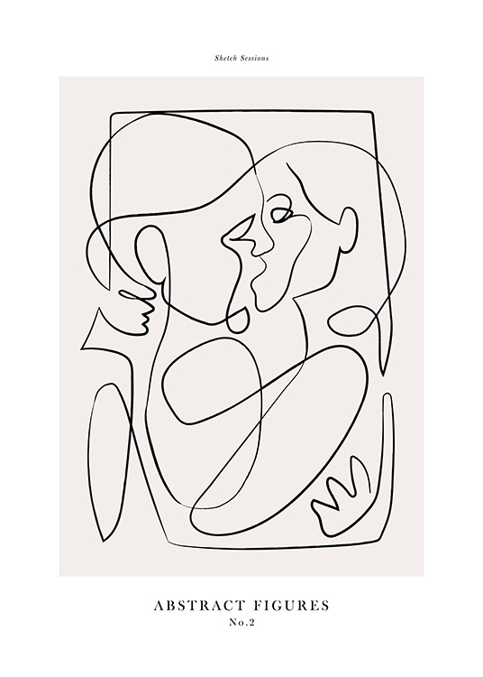 – Abstract illustration with two people drawn in line art, kissing and embracing each other