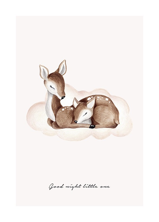 Illustration with two sleeping deers on cloud with text Good night little one