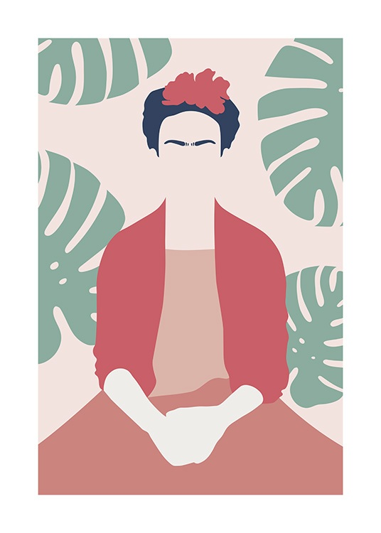 Illustrated graphical print of Frida Kahlo in red clothes sitting down in front of monstera leafs