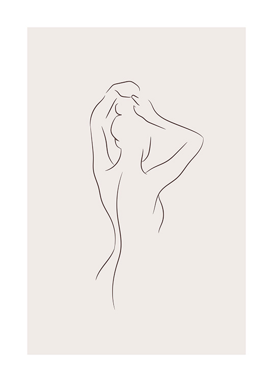 Illustration in line art with woman from behind putting her hair up