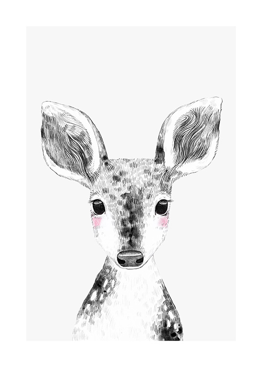 - Illustration of a baby deer in black and white, with rosy cheeks and a grey background