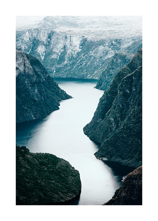 - Nature print with photograph of a wide river in a mountain landscape in Scandinavia