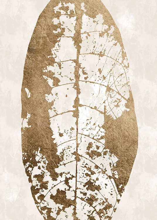 - Abstract art print of a gold coloured leaf with a skeleton structure, on a beige background