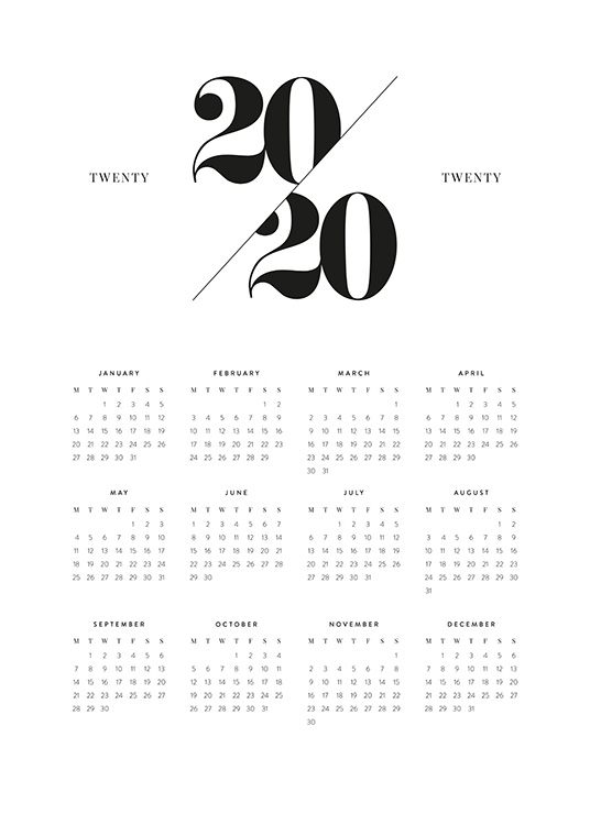 - Black and white minimalistic calendar for 2020 with a monthly view underneath Twenty 2020 Twenty