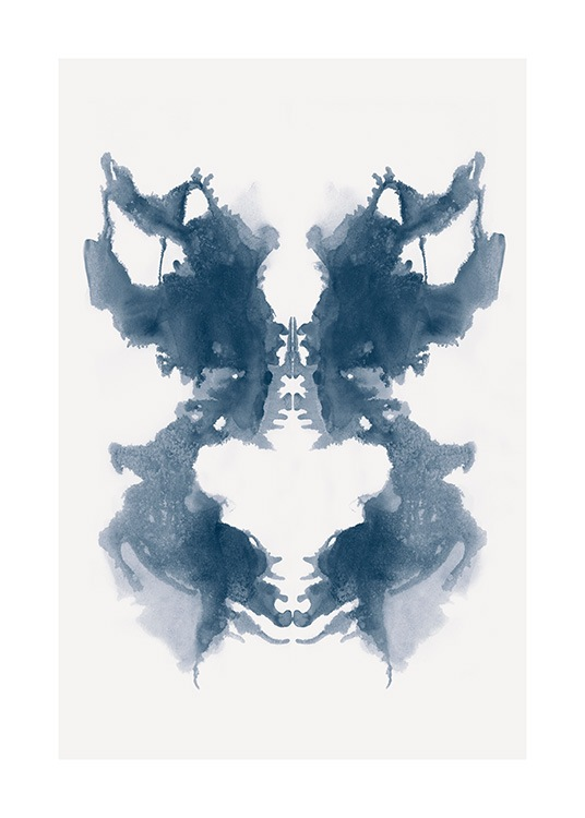 - Blue watercolour painting of a blue Rorscharch symbol with a background in light beige