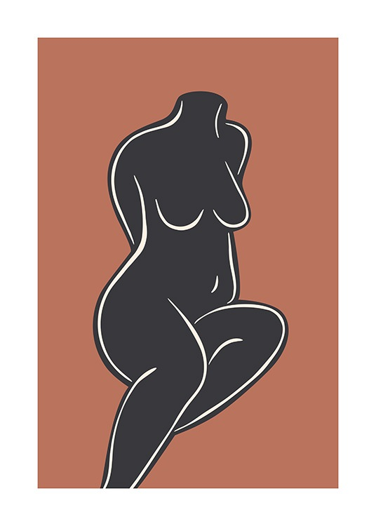 - Illustration in white on a black cut out of a naked woman sitting down, with a brown background